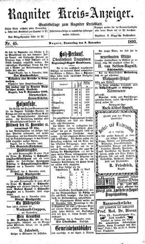 Ragniter Kreis-Anzeiger vom 09.11.1893