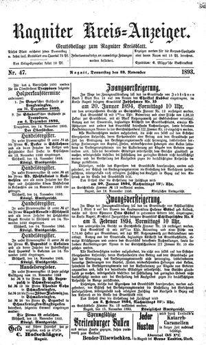 Ragniter Kreis-Anzeiger vom 23.11.1893