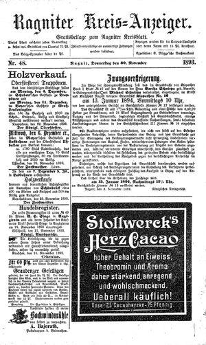 Ragniter Kreis-Anzeiger vom 30.11.1893