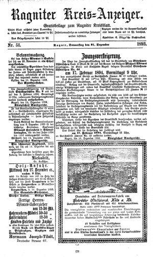 Ragniter Kreis-Anzeiger vom 21.12.1893