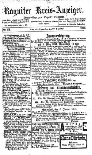 Ragniter Kreis-Anzeiger vom 28.12.1893