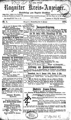 Ragniter Kreis-Anzeiger vom 04.01.1894