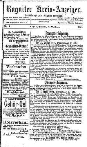 Ragniter Kreis-Anzeiger vom 25.01.1894