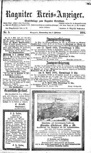 Ragniter Kreis-Anzeiger vom 01.02.1894