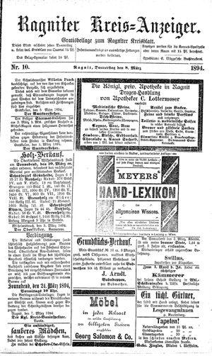 Ragniter Kreis-Anzeiger vom 08.03.1894