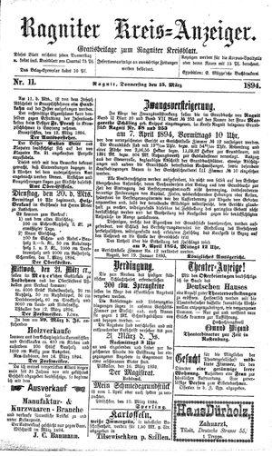 Ragniter Kreis-Anzeiger on Mar 15, 1894