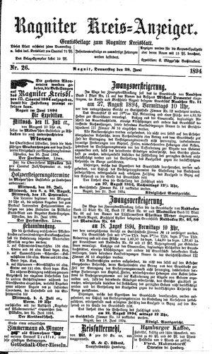 Ragniter Kreis-Anzeiger vom 28.06.1894