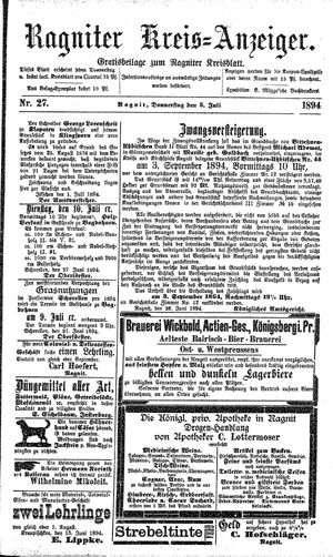 Ragniter Kreis-Anzeiger vom 05.07.1894