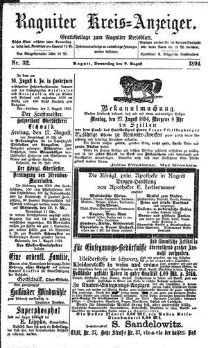 Ragniter Kreis-Anzeiger vom 09.08.1894