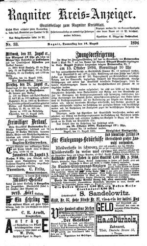 Ragniter Kreis-Anzeiger vom 16.08.1894