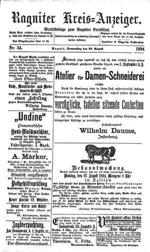 Ragniter Kreis-Anzeiger vom 23.08.1894
