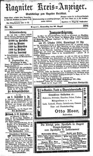 Ragniter Kreis-Anzeiger vom 30.08.1894