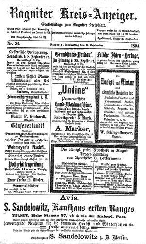 Ragniter Kreis-Anzeiger vom 06.09.1894