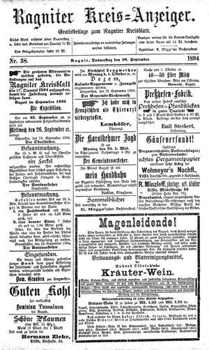 Ragniter Kreis-Anzeiger vom 20.09.1894