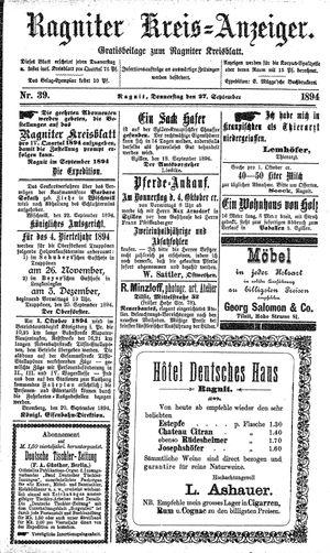 Ragniter Kreis-Anzeiger vom 27.09.1894