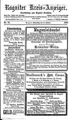 Ragniter Kreis-Anzeiger on Oct 11, 1894