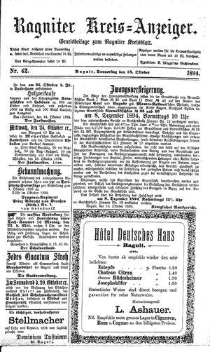 Ragniter Kreis-Anzeiger vom 18.10.1894