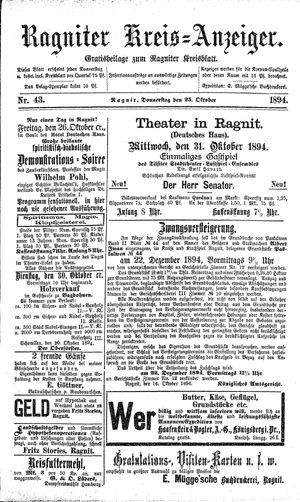 Ragniter Kreis-Anzeiger vom 25.10.1894