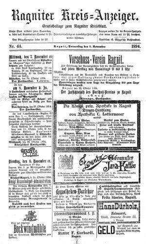 Ragniter Kreis-Anzeiger vom 01.11.1894