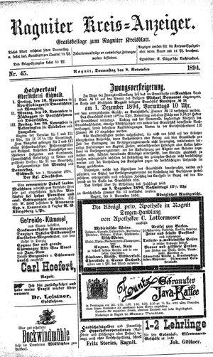 Ragniter Kreis-Anzeiger vom 08.11.1894