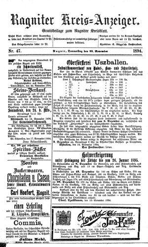Ragniter Kreis-Anzeiger vom 22.11.1894