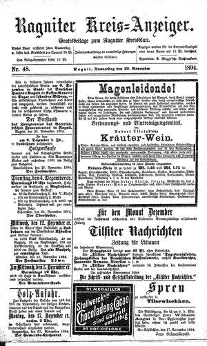 Ragniter Kreis-Anzeiger vom 29.11.1894
