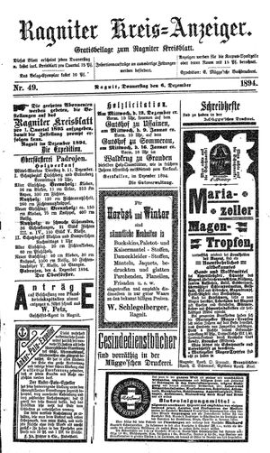 Ragniter Kreis-Anzeiger vom 06.12.1894