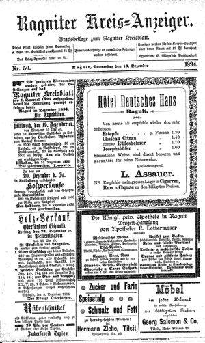 Ragniter Kreis-Anzeiger on Dec 13, 1894