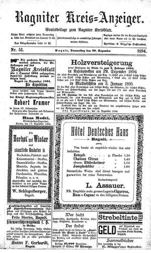 Ragniter Kreis-Anzeiger vom 20.12.1894