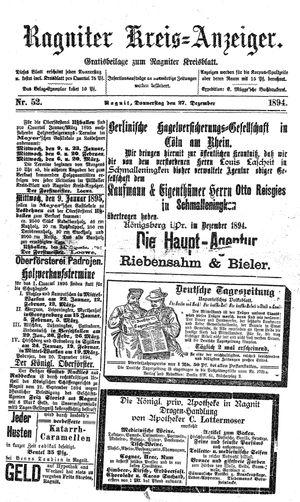 Ragniter Kreis-Anzeiger vom 27.12.1894