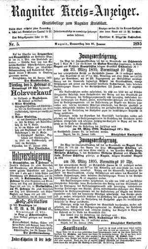 Ragniter Kreis-Anzeiger vom 31.01.1895