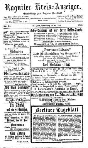 Ragniter Kreis-Anzeiger vom 13.06.1895