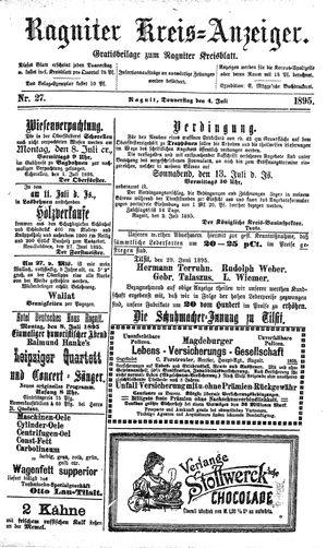 Ragniter Kreis-Anzeiger vom 04.07.1895