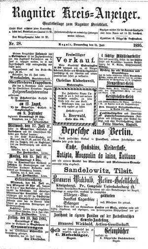 Ragniter Kreis-Anzeiger vom 11.07.1895