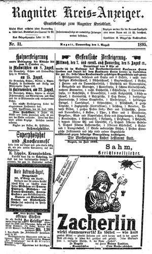 Ragniter Kreis-Anzeiger vom 01.08.1895