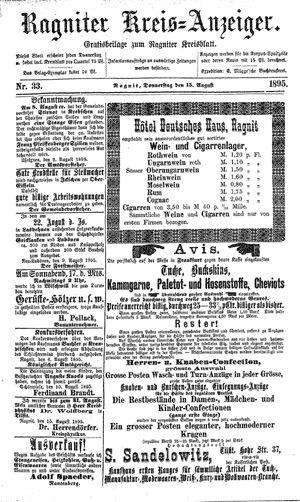 Ragniter Kreis-Anzeiger vom 15.08.1895
