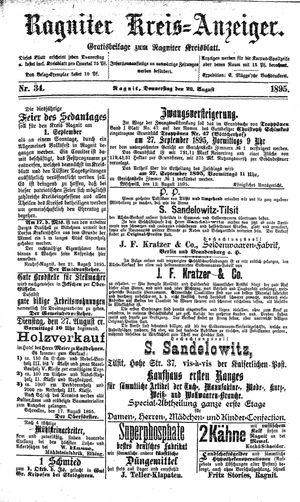 Ragniter Kreis-Anzeiger vom 22.08.1895