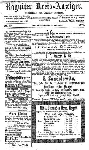 Ragniter Kreis-Anzeiger vom 29.08.1895