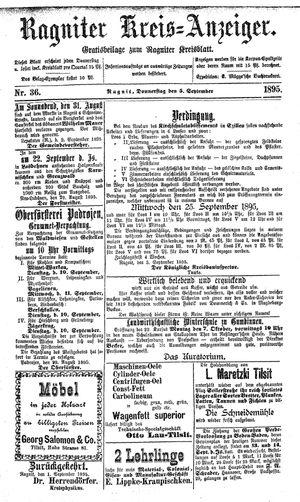 Ragniter Kreis-Anzeiger vom 05.09.1895