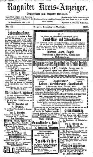Ragniter Kreis-Anzeiger vom 10.10.1895