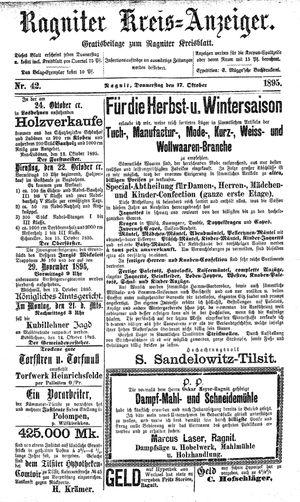 Ragniter Kreis-Anzeiger vom 17.10.1895