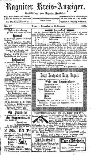 Ragniter Kreis-Anzeiger vom 21.11.1895
