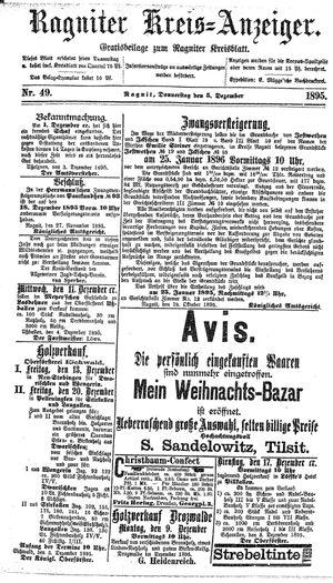 Ragniter Kreis-Anzeiger vom 05.12.1895