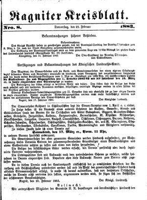 Ragniter Kreisblatt vom 22.02.1883