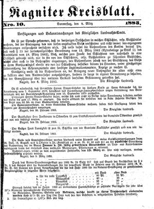 Ragniter Kreisblatt vom 08.03.1883