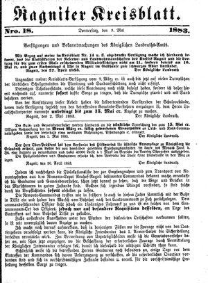 Ragniter Kreisblatt vom 03.05.1883