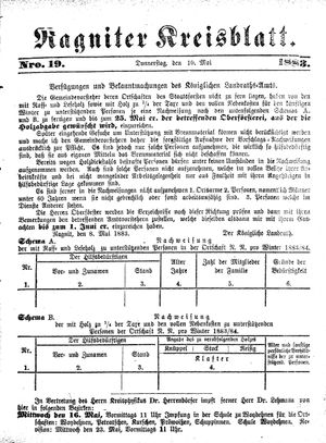 Ragniter Kreisblatt vom 10.05.1883