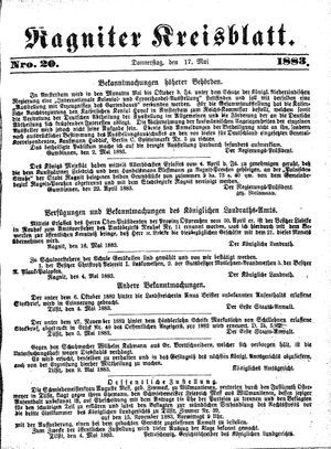 Ragniter Kreisblatt vom 17.05.1883