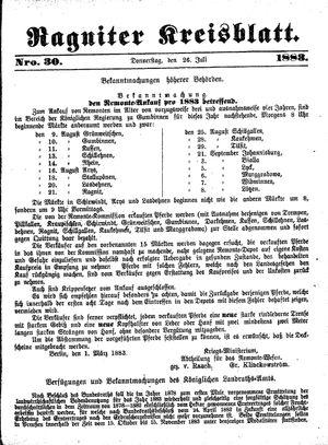Ragniter Kreisblatt vom 26.07.1883