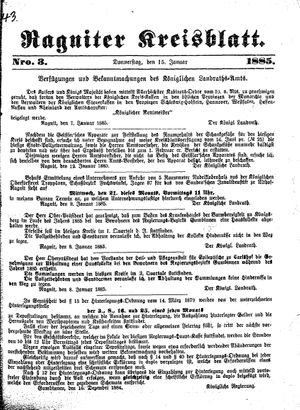 Ragniter Kreisblatt vom 15.01.1885